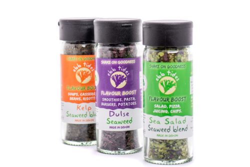 Ebb Tides 3 shaker offer and excellent way to try dried seaweeds packaged ethically and convenient to use.